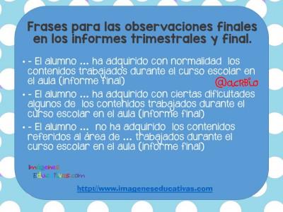 Frases recomendables para utilizar en los reportes de evaluación- (5)
