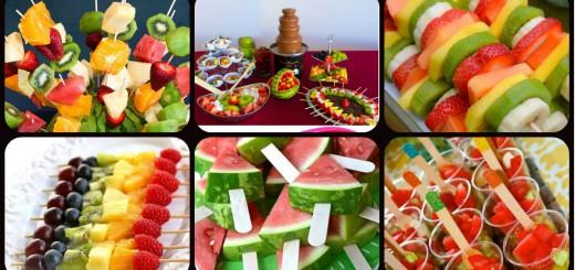 Fuentes y brochetas de frutas Portada