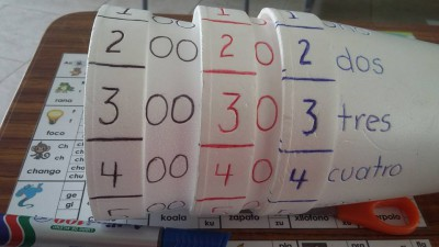 Practicamos los números con vasos de papel (2)