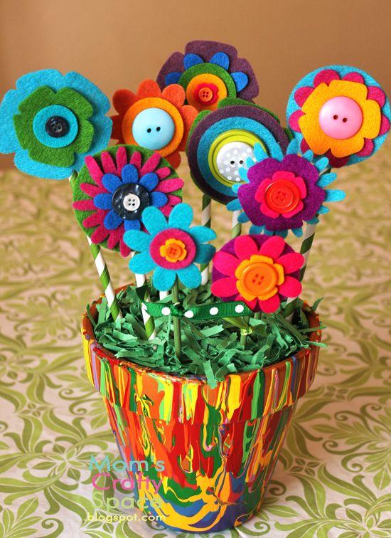 Felt Flower Picture Frame