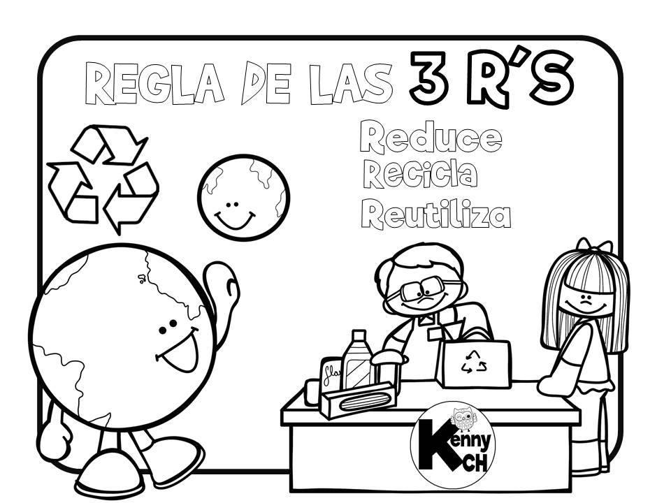 Fichas para trabajar en el d a de la tierra 6 imagenes for Dibujos de las 3 r