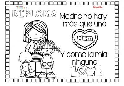 Diplomas para colorear del día de las madres. 10 de Mayo (9)