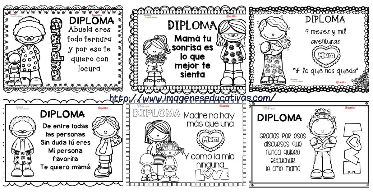 Diplomas para colorear del día de las madres. 10 de Mayo PORTADA ...