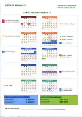 Calendario escolares 2016-2017  Cordoba