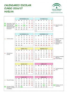 Calendario escolares 2016-2017  Huelva