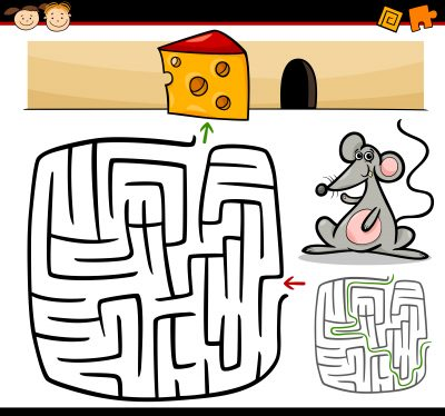 Cartoon Illustration of Education Maze or Labyrinth Game for Preschool Children with Funny Mouse Animal and Cheese