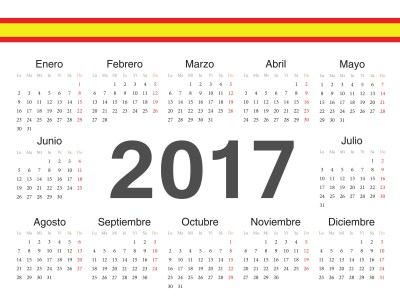 Vector spanish circle calendar 2017. Week starts from Monday.
