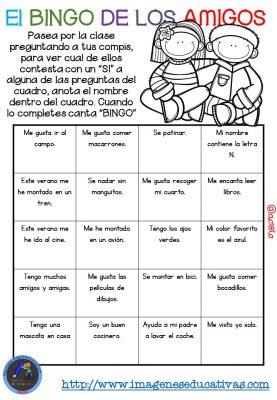 """Actividad para los primeros días de clase """"El BINGO DE LOS AMIGOS"""" (15)"""