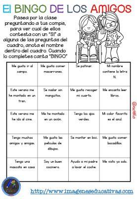 """Actividad para los primeros días de clase """"El BINGO DE LOS AMIGOS"""" (16)"""