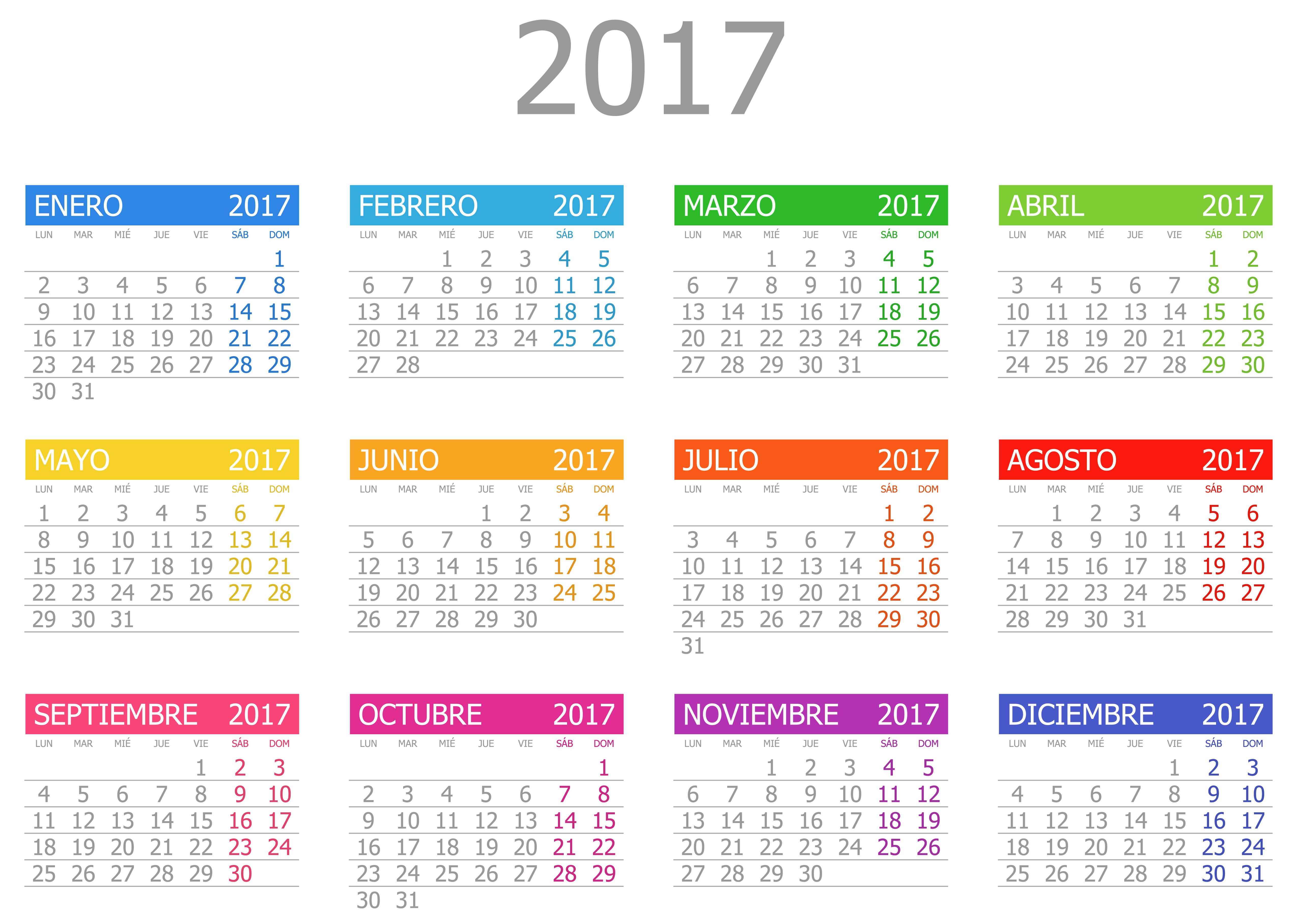 Calendario 2017 on Dibujos Para Imprimir Gratis