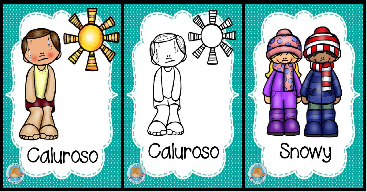 Imagenes Para Portada De Español Para Colorear: Carteles Sobre El Clima En Inglés Y Español. A Color Y En