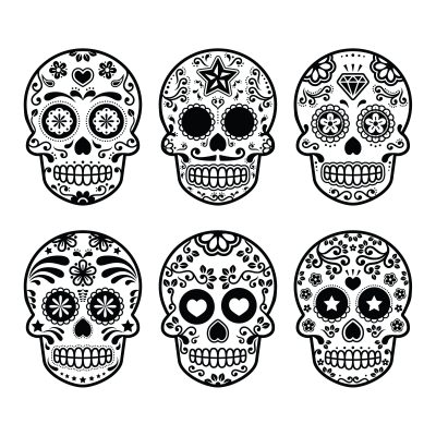 27314348 - mexican sugar skull, dia de los muertos icons set