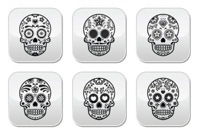 28883526 - mexican sugar skull, dia de los muertos icons set