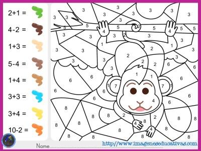 Colorea por por sumas y nmeros  Imagenes Educativas