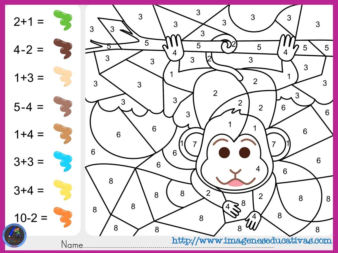 fichas de matematicas para sumar y colorear dibujo 2   Imagenes