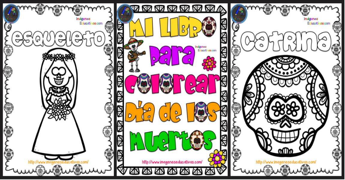 Único Día De Los Muertos Libro De Colorear Imágenes - Páginas Para ...