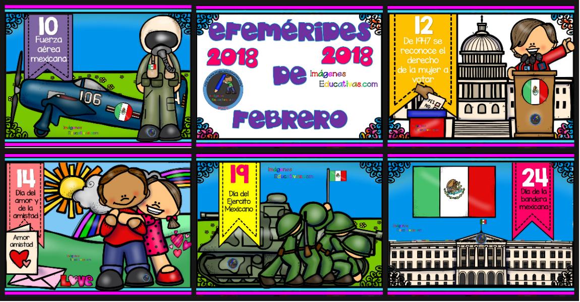 Efemérides Febrero 2018 Portada Imagenes Educativas
