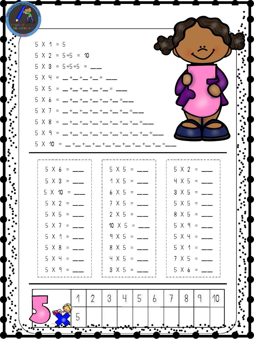 Hojas para repasar las tablas de multiplicar (4) - Imagenes Educativas