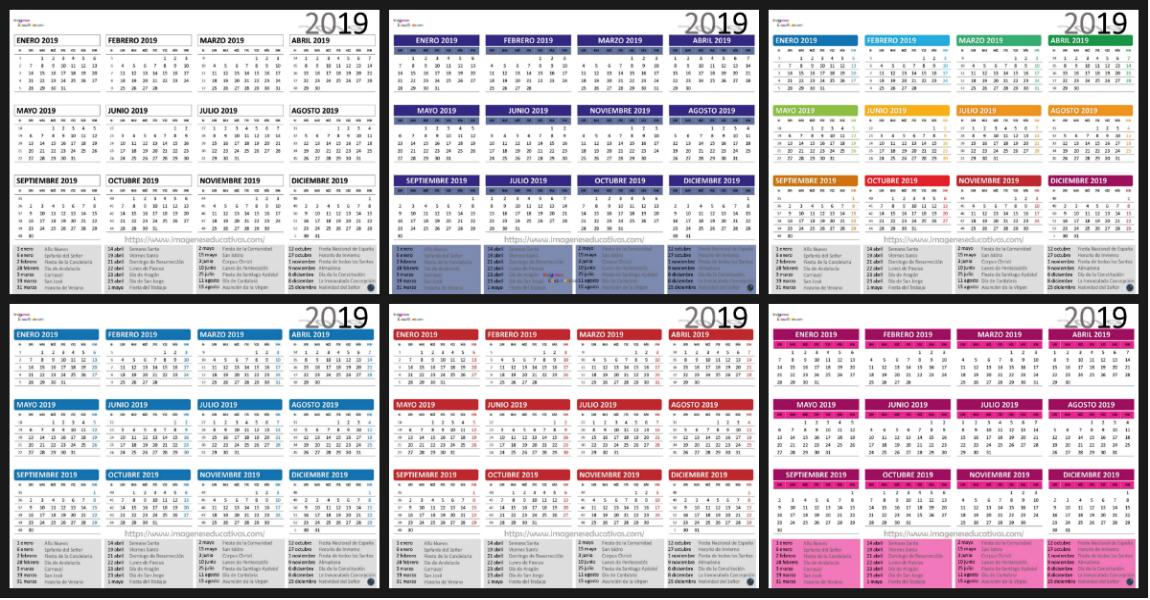 Calendario 2019 Portada Imagenes Educativas