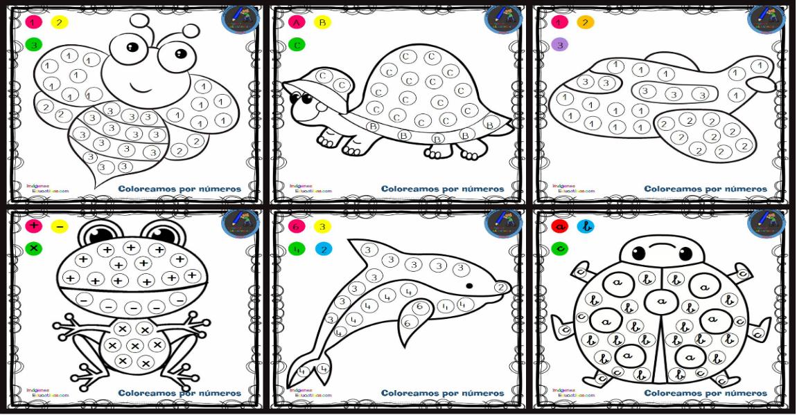 Fichas para colorear por letras, números y símbolos   Imagenes