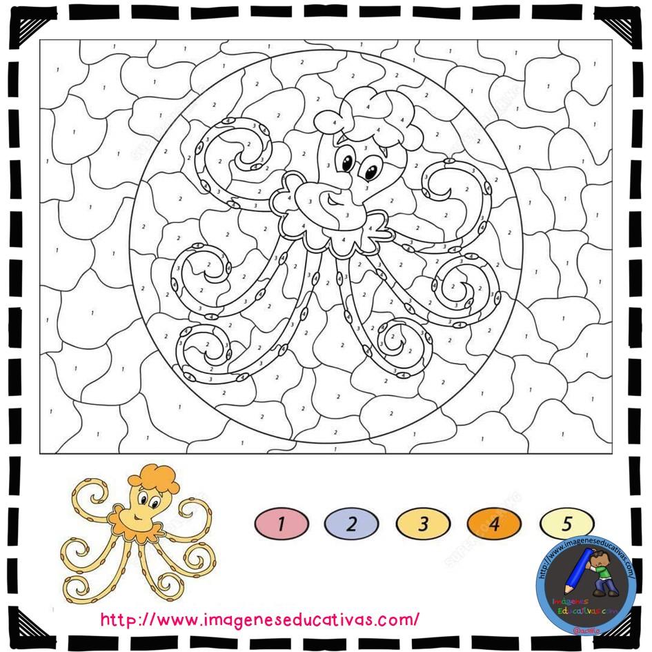 Colorear por números (14) - Imagenes Educativas