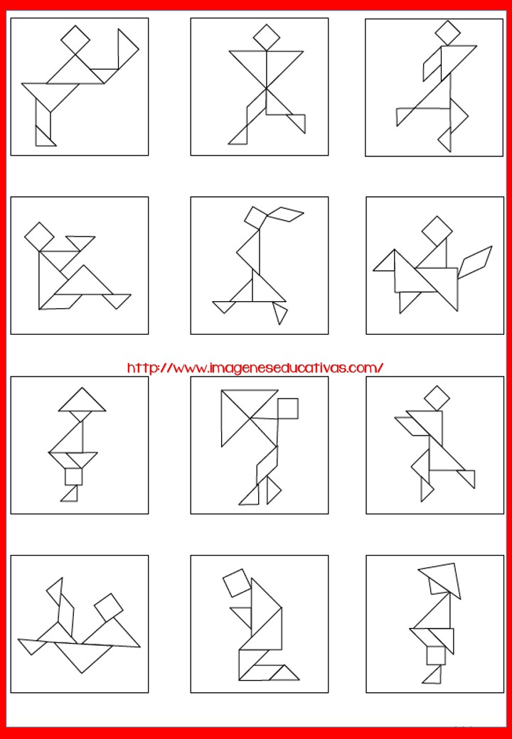 Figuras para imprimir plantillas incluidas Tangram -Orientacion Andujar