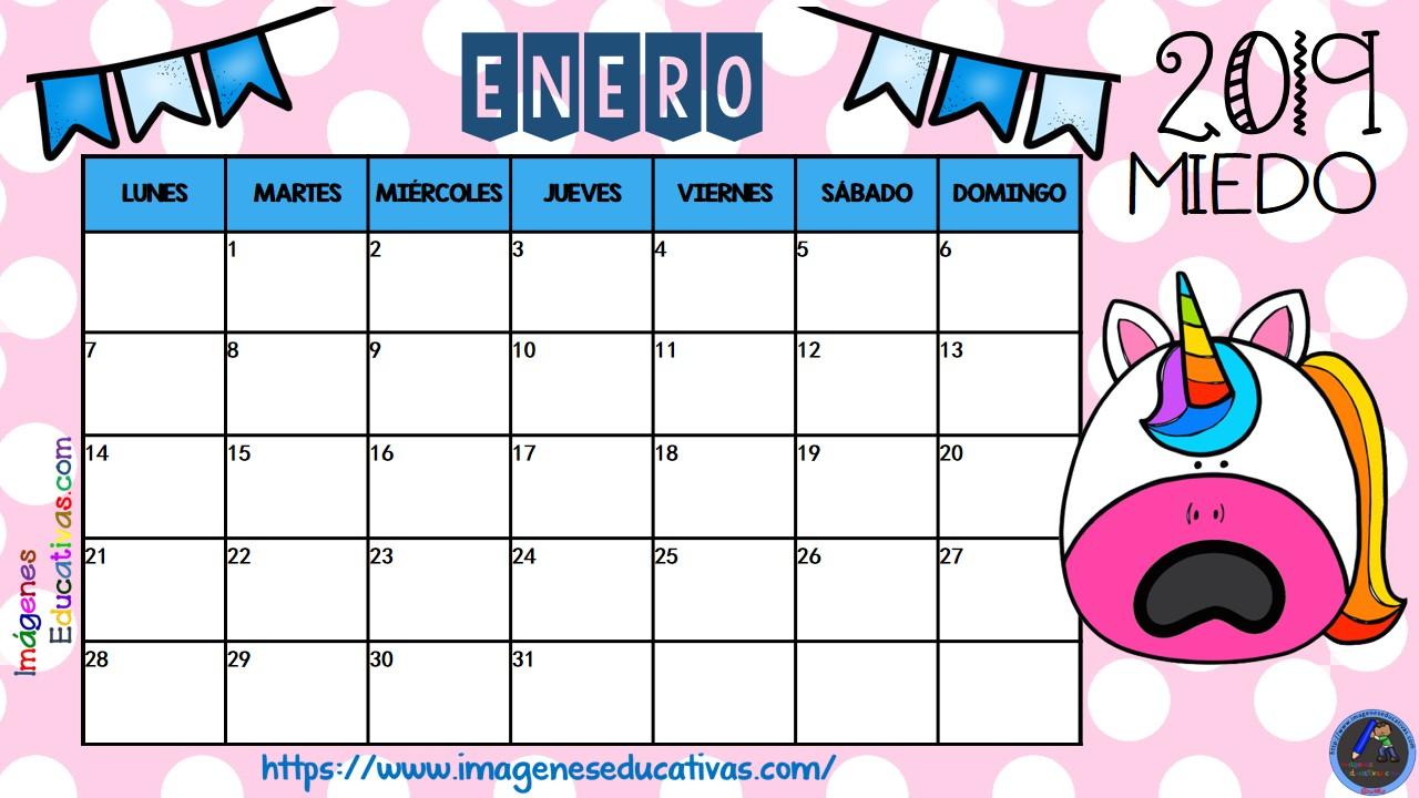 Calendario De Agosto 2019 Decorado.Calendario 2018 2019 Emociones Unicornios 7 Imagenes