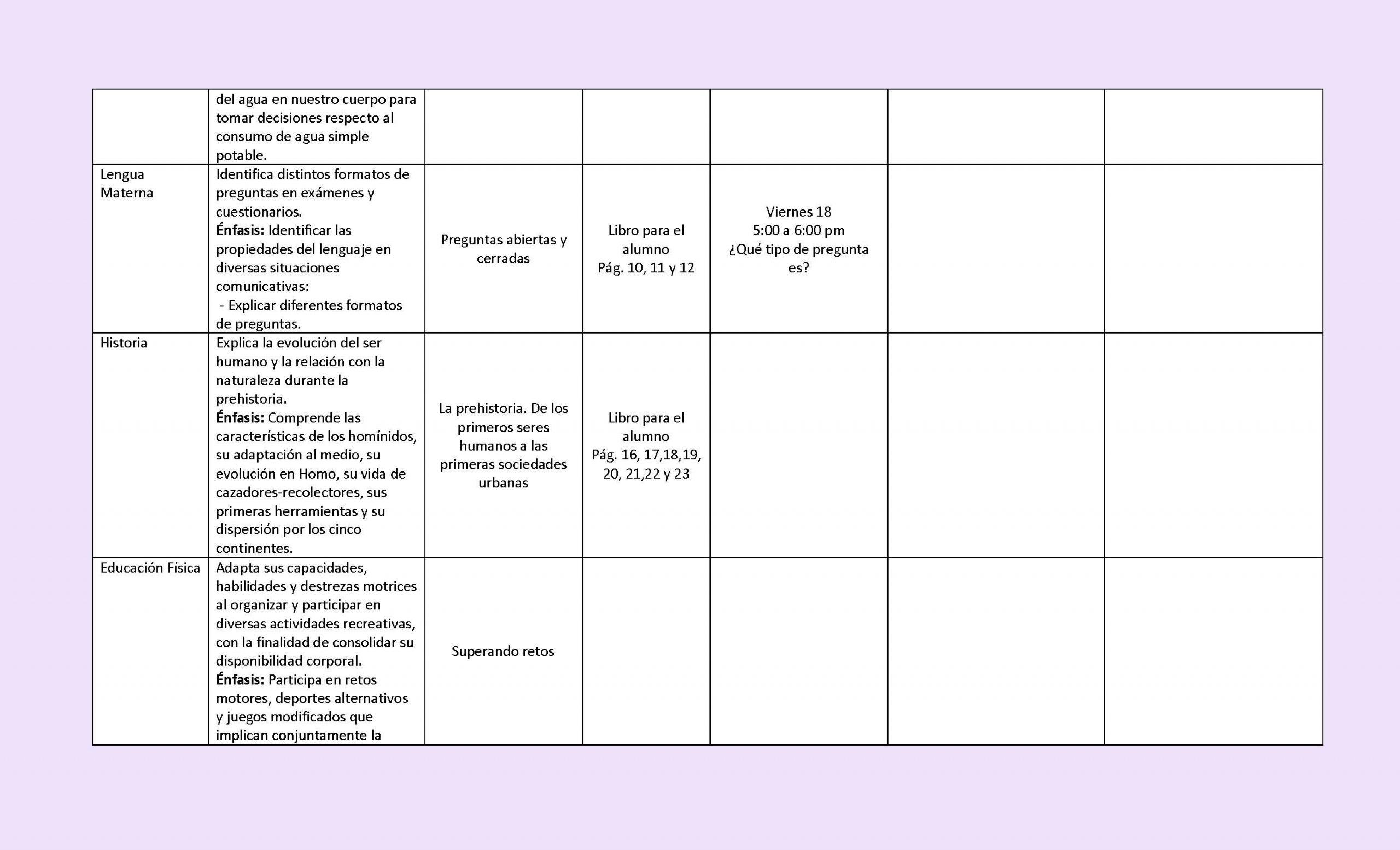 Plan De Trabajo Semanal 14 A 18 De Septiembre De 2020 2021 1 2 3 4 5 6 Grado Imagenes Educativas