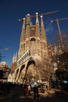 Sagrada Familia, la façade de la passion et les tours en construction, Barcelone - 2015