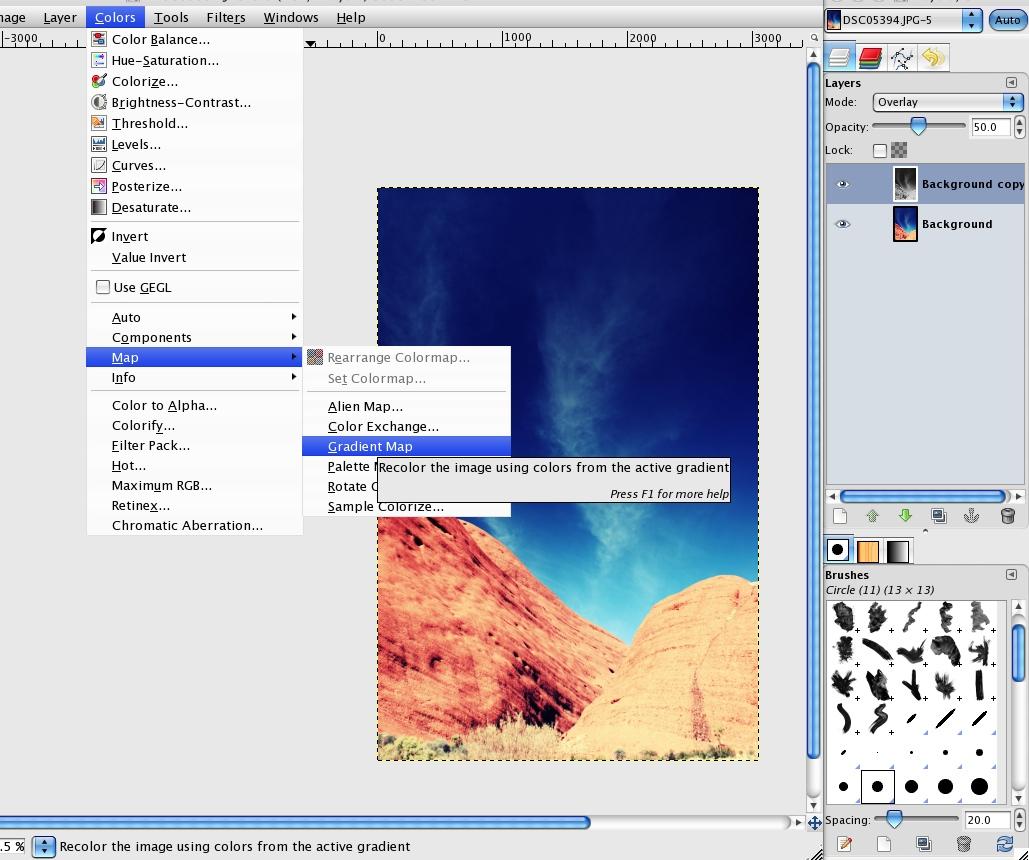 Duplicate Layer - Gradient Map (B&W) - Overlay