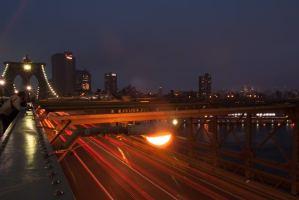 NYC, Brooklyn Bridge, at night, light trails