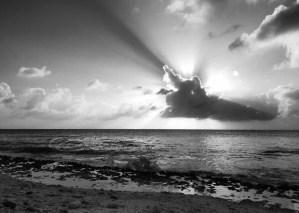 ocean, sundown, sunset, clouds, cross