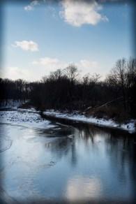Whippany, river, snow, reflection