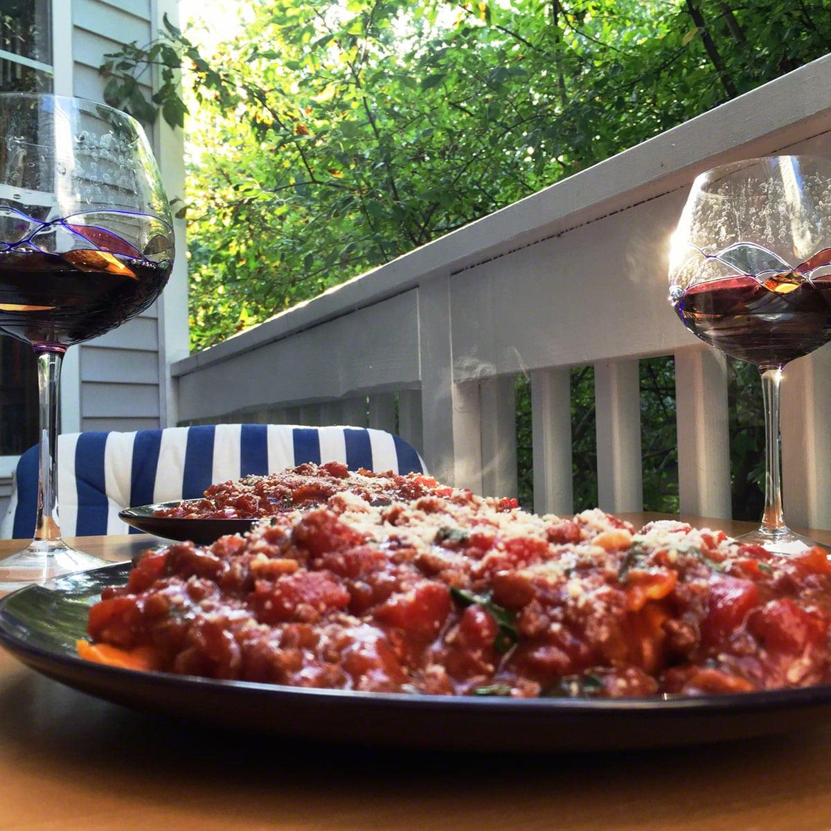Bolognese & wine