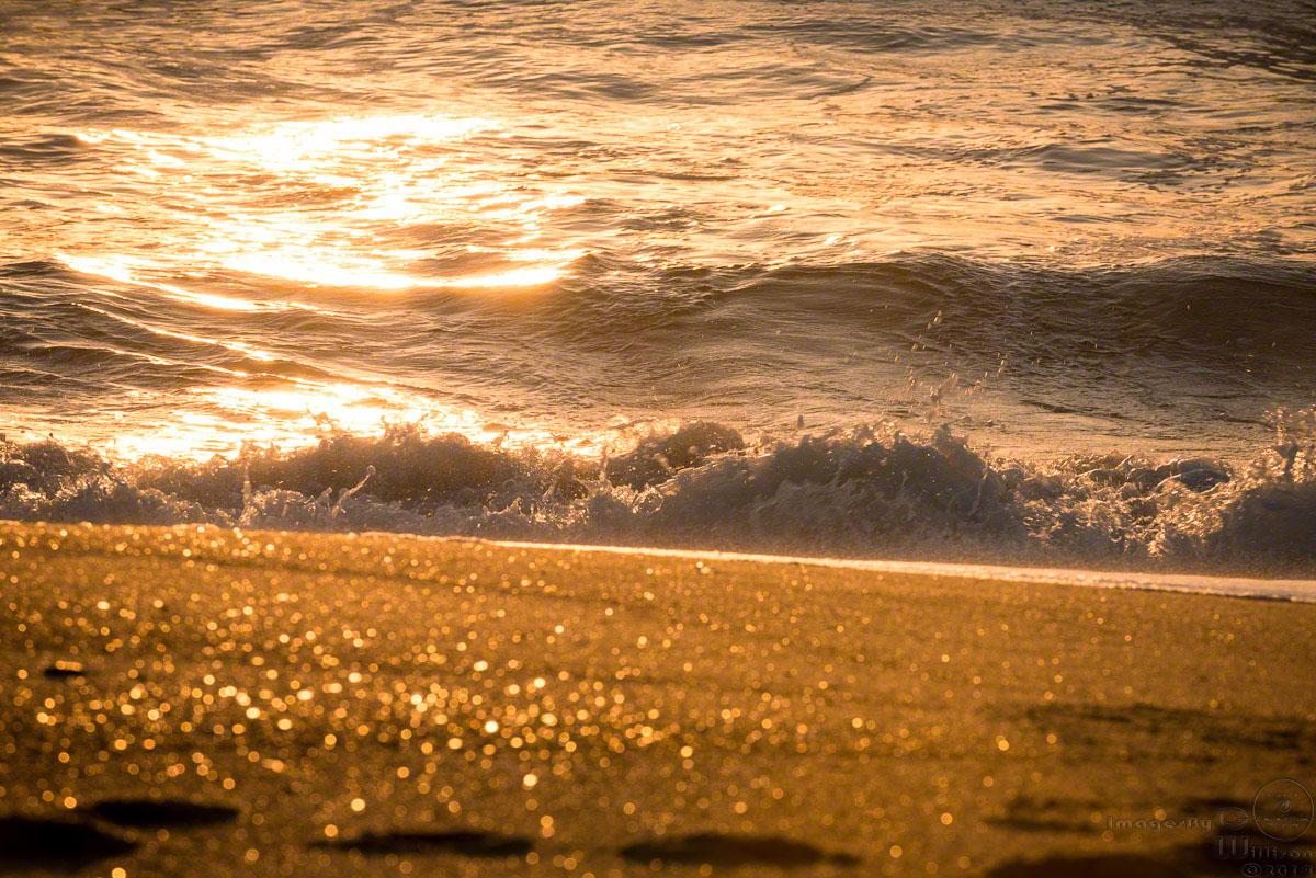 sunrise, beach, sand, glitter, bokeh