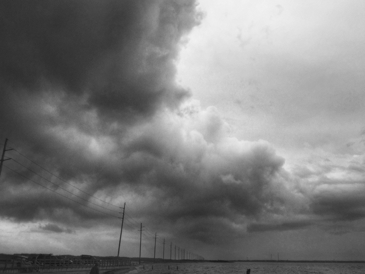 clouds, storm, b&w