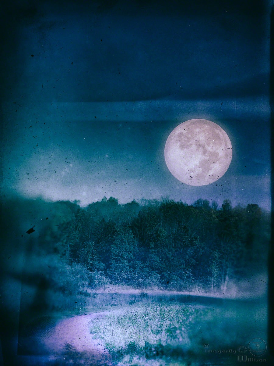 moon, full, blue, vintage