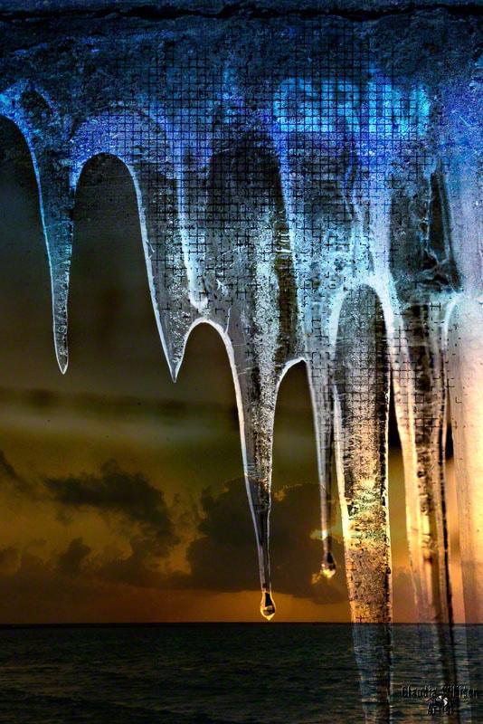 ice, icicle, sunset, grunge, texture