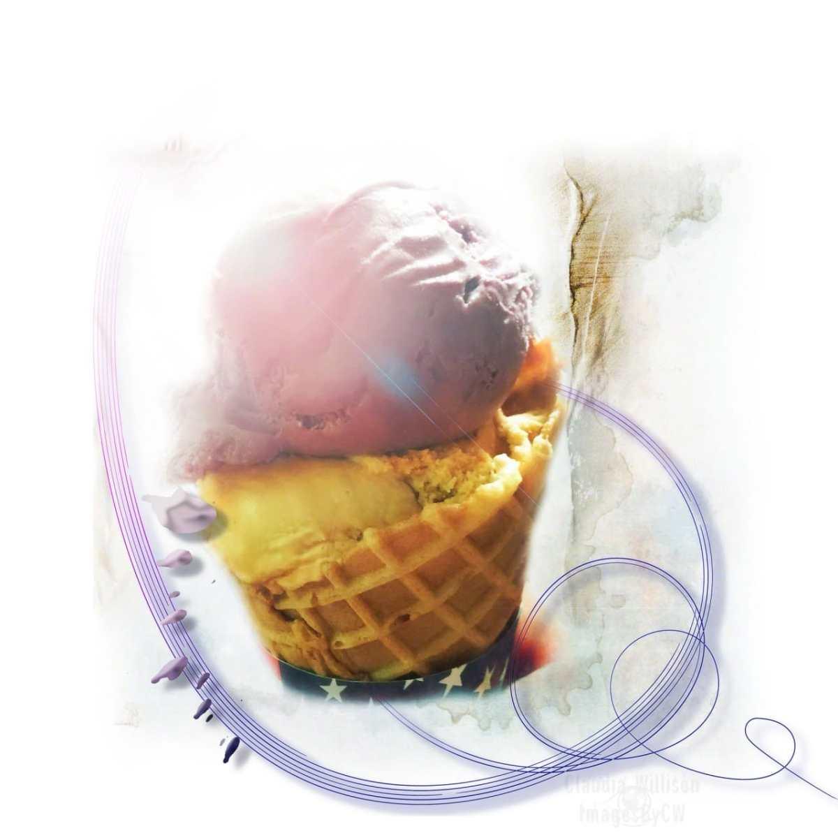 ice cream, waffle, cone, art