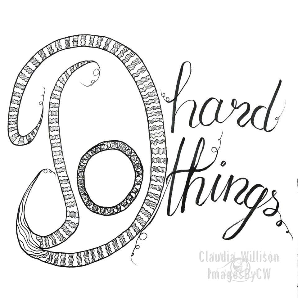 handlettering, doodling, do hard things