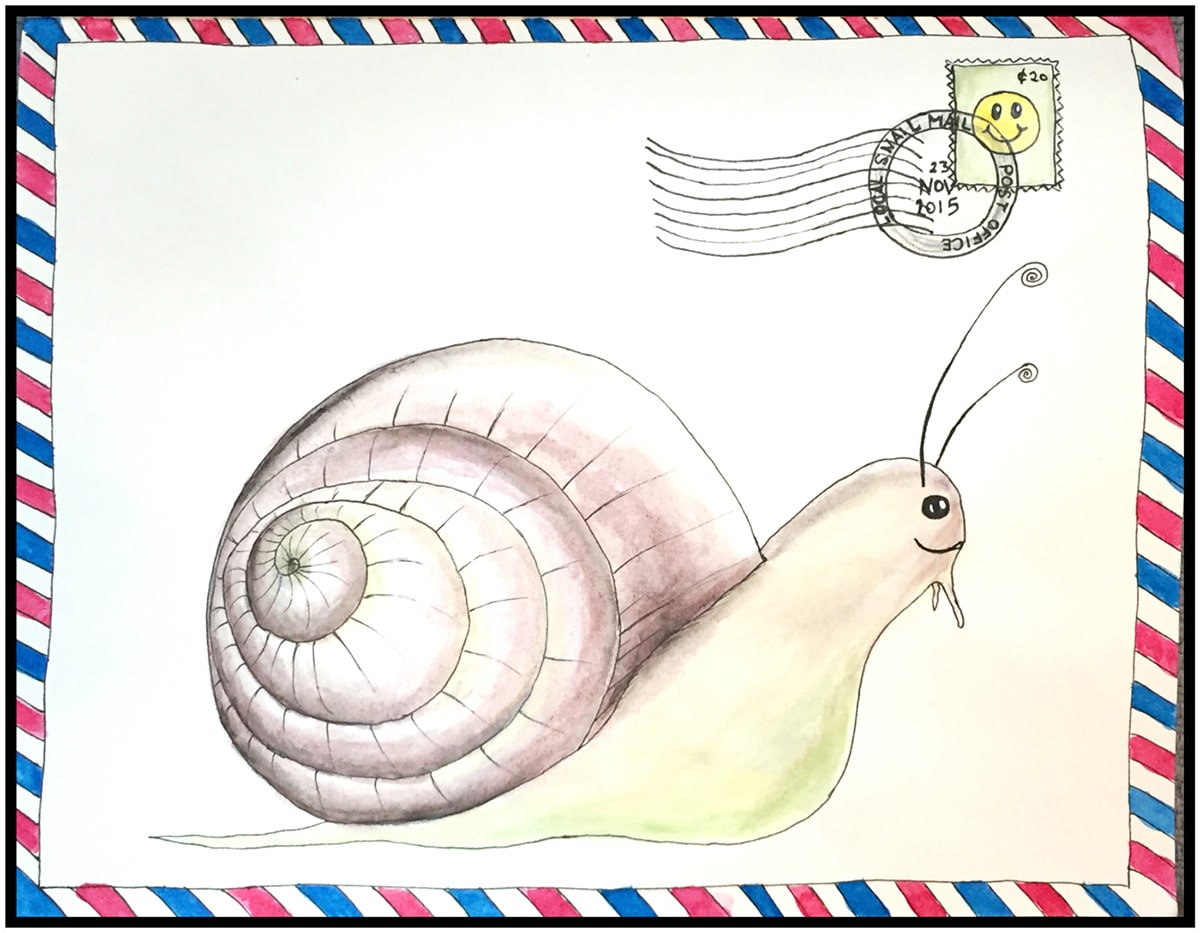 snail, mail, drawing, painting