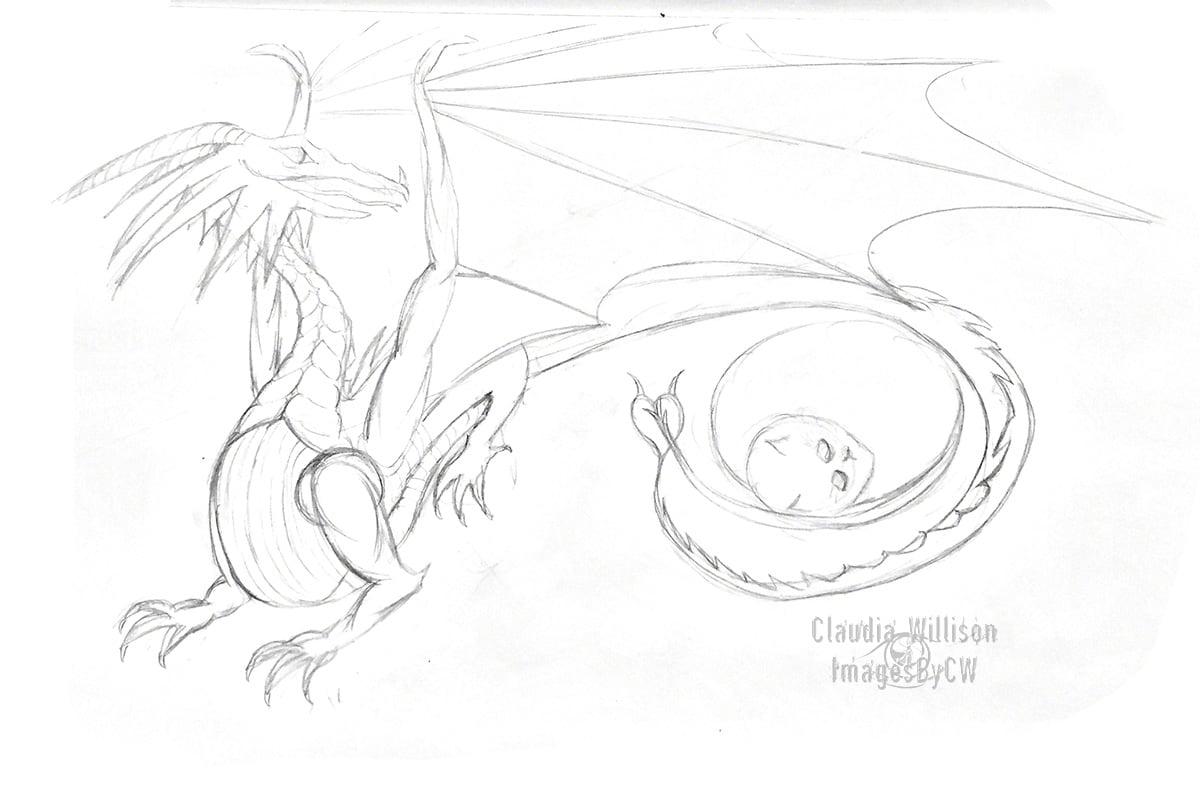 dragon, pencil, drawing