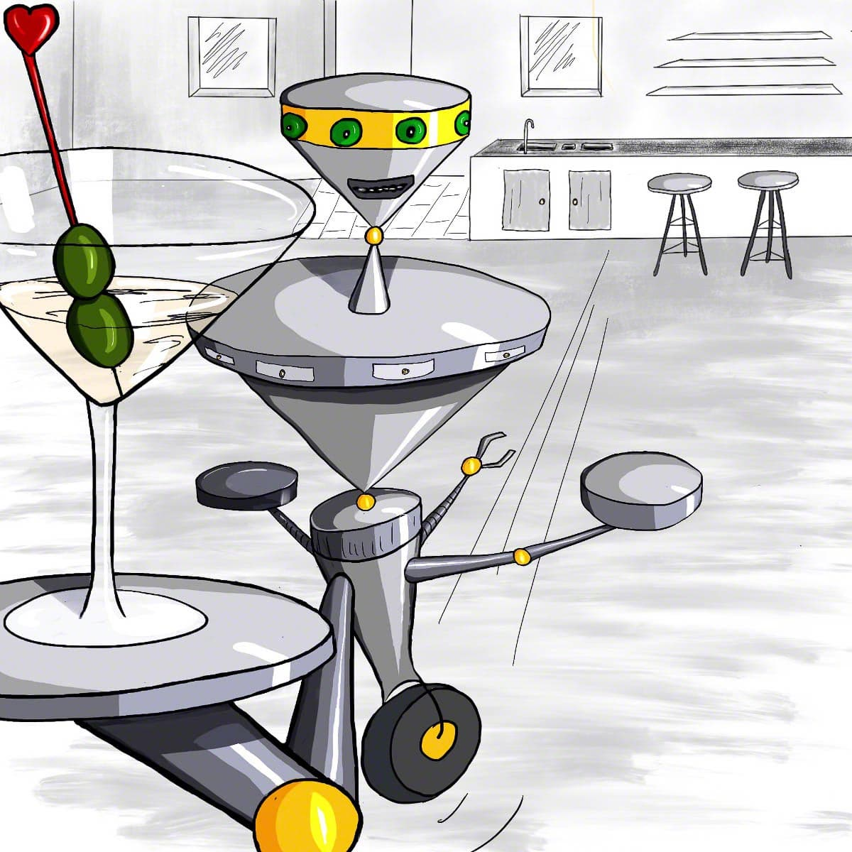 illustration, drawing, robot
