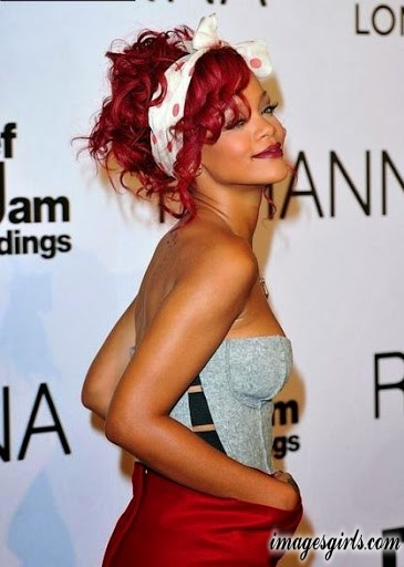 rihanna red color hairstyles ideas pics