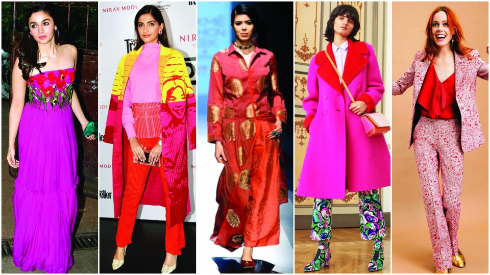 Valentine's Day (Left to Right) Alia Bhatt, Sonam Kapoor, A model in Amooh by Jade, An ensemble by Emilio Pucci and A Stella McCartney outfit