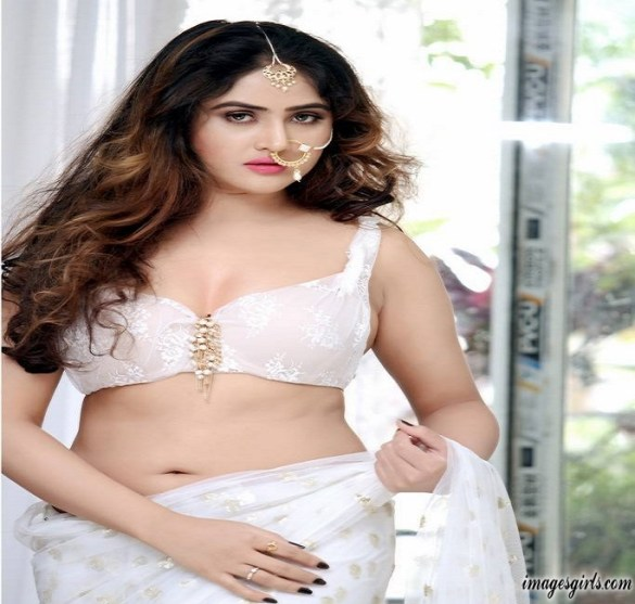 Sony Charishta Hot Photoshoot in White Saree