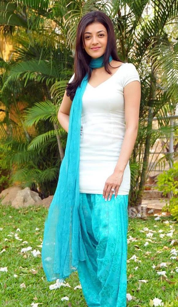 Kajal Agarwal Photoshoot In Blue White Salwar Suit