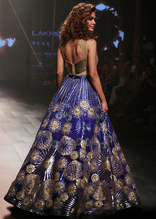 Esha Gupta Hot Photoshoot in Gold Top with Blue Lehenga