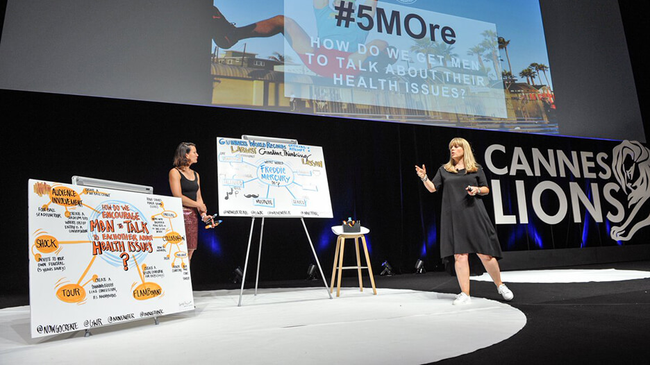 ImageThink graphic records on stage at the Cannes Lions Festival in 2016