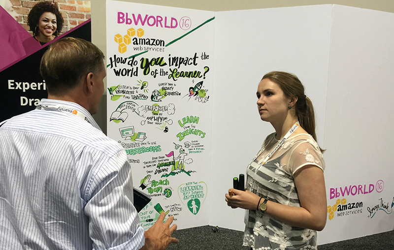 "imagethink graphic recording social listening wall at bbworld 2016. Graphic Recorder Greta Hayes (right) engages an attendee with the question ""how do you impact the world of the learner?"". Large foam core display in background of attendees engagement in visual notes form."